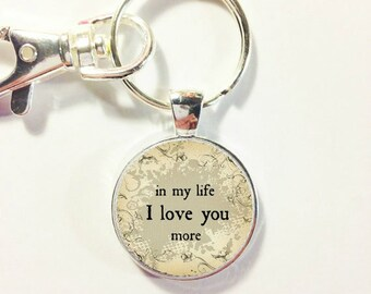 BEATLES SONG QUOTE, Lyrics ... In my life I love you more, Song lyrics Beatles charm, love quote, Valentine's Day gift for him, Gift for her