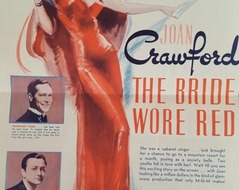 Original 1937 The Bride Wore Red Movie Poster Herald Joan Crawford, Franchot Tone