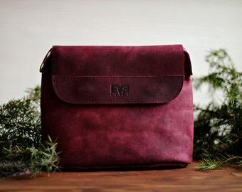 Leather purse, leather bag, handmade leather bag, shoulder bag, womens bag, Kaplya Burgundy