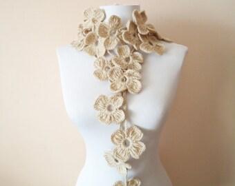 Crochet floral lariat neckwarmer floral scarf neck accessories hand crochet floral scarf creamy beige floral scarf