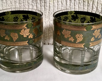 """Pair (2) Old Fashioned size bareware glass in """"Golden Grapes-Green"""" by Cera Glass"""