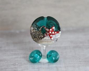 Teal ivory  bead Handmade lampwork  glass bead, marine  lampwork bead set