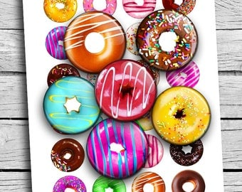 """Donuts Printable Round images 25mm 1.5"""" 1"""" 30mm for Cabochons Pendants Scrapbooking Digital Collage Sheet Printable Download"""