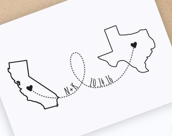 Custom State to State Stamp, State Pride Stamp, Save the Date State Stamp, Wedding Stamp, Country Stamp, Destination Wedding Stamp,