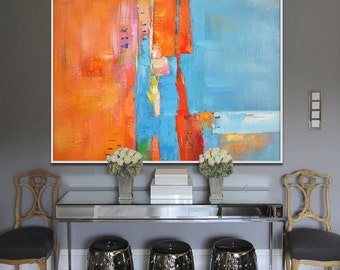 Handmade Large Painting, Original Art, Large Canvas Art. Contemporary Art, Modern Art Abstract Painting. Orange, blue, yellow, red.