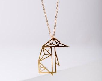MIZYAN's geometric penguin necklace, origami penguin, geometric accessories