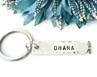 Ohana Hand Stamped Keychain | Ohana Means Family | Hawaii | Mom Gift | Sibling Gifts | Sister Gift | Brother Gift | Aluminum Keychain