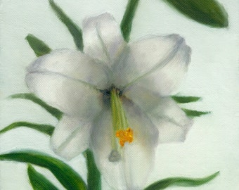 Lily Painting,  Easter Lily Print, White Lily Print 5x7 fine art print of original painting by Amelia Nowak