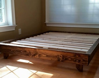 platform bed low profile bed ava solid wood bed bed frame custom bed guest bed free shipping