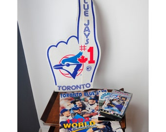 Vintage Blue Jays Fan Combo! Jays Large #1 Hand/ 1992 WS 50 page book/ 2 VHS tapes
