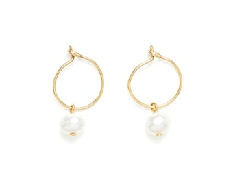 Mini Creole gold gold end and freshwater pearls / white gold / day of Mistral / small Creole / gift idea