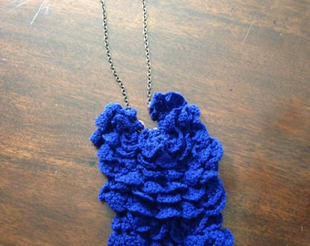 Navy Crocheted Bib Necklace on Matte Gold Chain