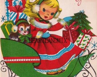 Vintage Christmas Art Graphic Little Girl Download