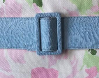 1950s faux snakeskin belt + Vintage wide blue belt