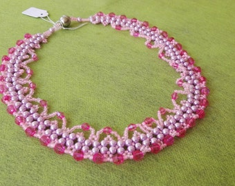 Royal Pink Beautiful beadwork necklace pearl and bicone Pink beads