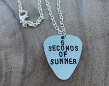5 Seconds of Summer Hand Stamped Guitar Pick Necklace