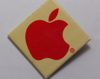 """Vintage square Apple Macintosh computer pinback button/badge from 1985, 2"""""""