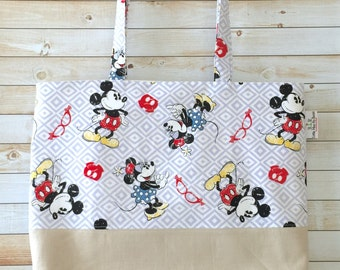 Mickey Mouse Minnie Mouse Vintage Print Tote Bag, Beach Bag, School Bag, Book Bag, Travel Bag, One Of A Kind, Only One Available!