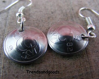 Earrings Coins  old 10 Öre Coins from Sweden / Sweden 1982 silverplaited OR017 Coin Jewelry