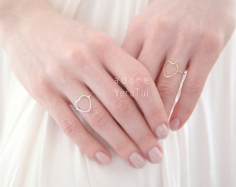 Dainty Heart Ring in Silver or Gold