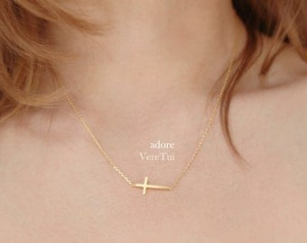 Minimal Sideways Gold Dainty Cross Necklace