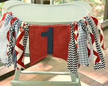 Nautical Birthday Banner First Birthday Party Highchair High Chair Patriotic Red White Blue USA Summer Cake Smash Photo Prop BEST SELLER