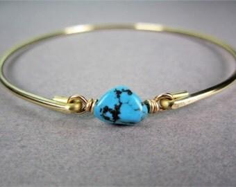 Gold Turquoise Nugget Bracelet, Turquoise Bracelet, December Birthstone, Western Jewelry, 14k Gold Bracelet, Boho Jewelry, Gifts For Her