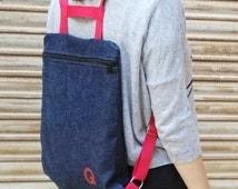 Denim Backpack,red,  handmade, made in spain, backpack with zipper