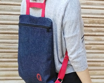 Denim Backpack,red,  handmade, made in spain, backpack with zipper