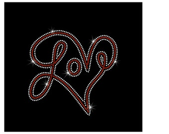 Custom Love Inside Swirl Heart Rhinestone Iron On Bling Heat Transfer