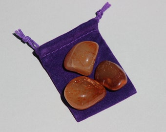 Tumbled Carnelian - Healing Crystals - 3 tumbled stones with pouch - Creativity - Sacral Chakra - Gifts