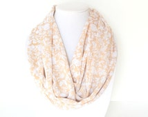 Infinity Scarf, Printed Scarf, Tan Scarf, Lightweight Scarf, Spring Accessory, Floral Scarf, Neutral Scarf, Summer Scarf