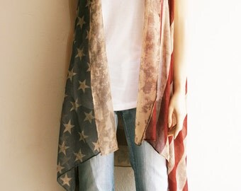 Music Festival Clothing. American Flag Clothing. Boho American Flag. Flag Vest. Boho Kimono. American Flag Vest. Red White & Blue. Boho Wrap