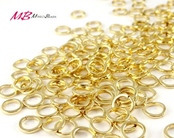 144 7mm Flat Jump Rings, Gold Plated Jump Rings