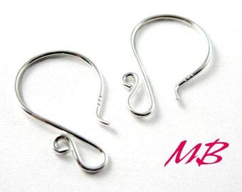 4 pcs Fancy Ear Wires, Sterling Silver Earring Hooks, Round Ear Wires