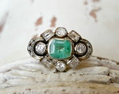 Vintage Antique Art Deco Emerald and Diamond Ring in 14k White Gold Size 7.75 Engagement Ring