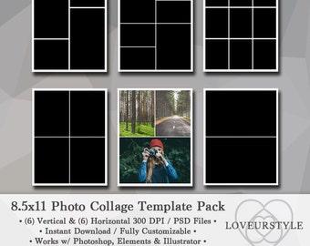 8.5x11 Photo Template Pack, Collage Templates, Portfolio Design, Scrapbook Templates, Photography Templates, Album Design, Photoshop