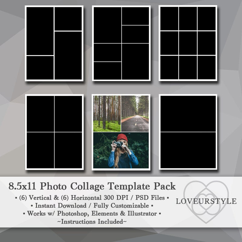 Photo template pack collage templates portfolio for Photo collage number templates