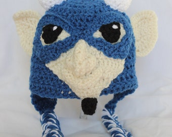 Crochet DUKE Blue Devils Hat with Ear Flaps - for Baby Boys and Baby Girls - Blue Devil Inspired Duke University mascot