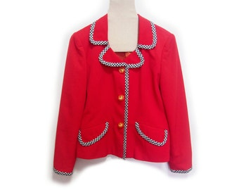 FLASH SALE! Vintage Red Jacket/ Blazer with houndstooth edging (fire engine red, cherry red)