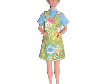 Fashion Doll Clothes-Blue/Green Floral Print Jumper & Blue Blouse