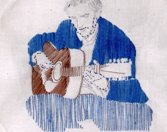 """Hand Embroidered Wall Hanging: """"Man with Guitar"""""""