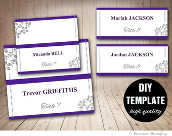 Printable Purple Wedding Placecard Template,DIY Purple Placecard,Microsoft Word Template,Wedding Seating Placecard,Purple and grey placecard