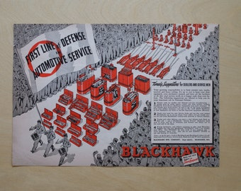 1941 - Blackhawk Manufacturing Advertisement  - Vintage WWII Print - WWII Era Advertisement - Old Oil Sign Ad - Oil Can Print