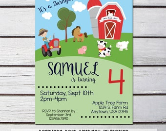 Barnyard Bash - Farm - Birthday Invitation - CUSTOMIZABLE - PERSONALIZED