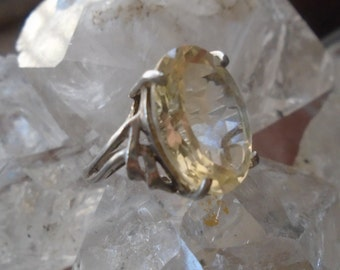 Lemon Quartz Ring in Sterling , size 6