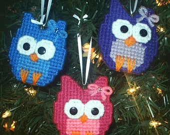 CHRISTMAS OWLS - Hand Crafted Plastic Canvas Holiday Tree Ornaments - Set of 3 - Bright Colors