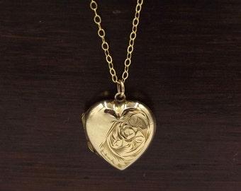 Vintage Gold Locket Necklace   9ct Gold Back And Front Engraved Locket Pendant   Antique 9K Heart Locket On A Chain