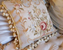 2 Shabby Chic French Aubusson Cottage 17x17 Pillow Cases - Ivory and Paris Blue