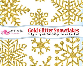 Gold Glitter Snowflakes clipart. Digital clip art. Commercial & personal Use. Instant Download. PNG snow sparkle golden Snowflake Christmas.